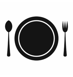 Cutlery set with plate vector