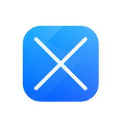 Delete glossy flat icon cross symbol vector