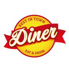 Diner vintage sign label retro vector