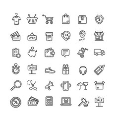 Ecommerce icon black thin line set vector