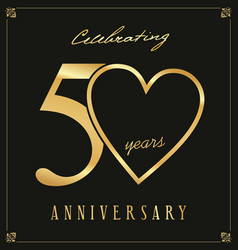 elegant black and gold anniversary background 50 vector image