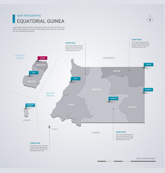 equatorial guinea map with infographic elements vector image