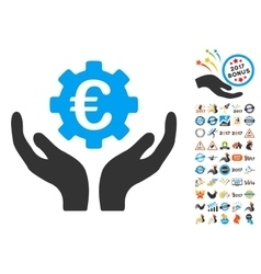 Euro Maintenance Hands Icon With 2017 Year Bonus vector
