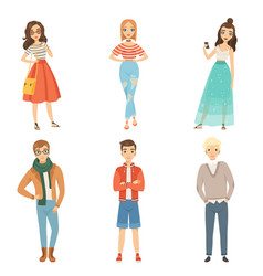 fashionable guys and girls cartoon male and vector image
