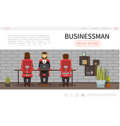 Flat businessman colorful webpage template vector