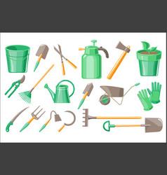 flat set garden accessories pot vector image