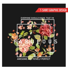 Floral Hortensia Card Graphic Design - for T-shirt vector image