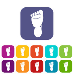 foot left leg icons set vector image