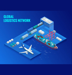 global logistics network flat isometric vector image