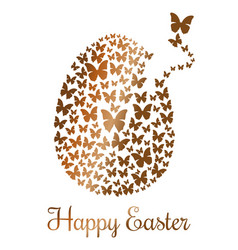 gold easter egg consists of flying butterflies vector image