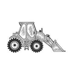 Grader road motor machine sketch engraving vector