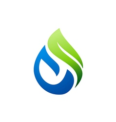 green nature bio water logo vector image