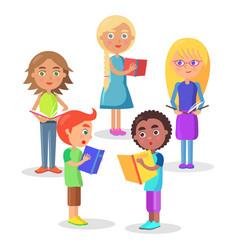 Group of schoolchildren reads schoolbooks on white vector