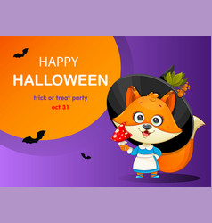 Happy halloween funny witch fox with fly agaric vector