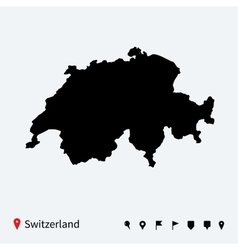 High detailed map of Switzerland with navigation vector