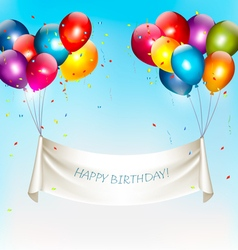 Holiday birthday banner with colorful balloons and vector