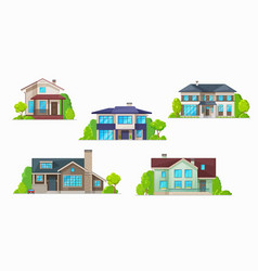 house home cottage icons real estate buildings vector image