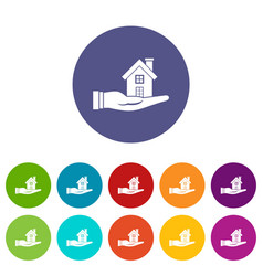 house in hand set icons vector image