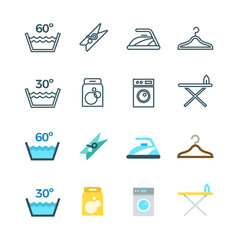 Housework and laundry washing line and flat icons vector