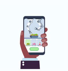 human hand using mobile application smart handy vector image