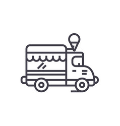 Ice cream food truck line icon sign vector