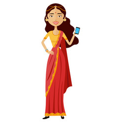 Indian woman with mobile phone vector