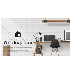 interior design with modern workplace background vector image