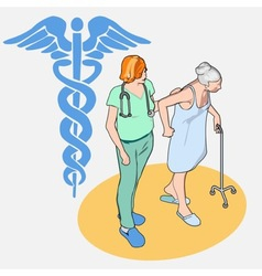 Isometric Healthcare People Set - Senior Patient vector image