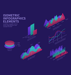 isometric infographic elements 3d graphs bar vector image