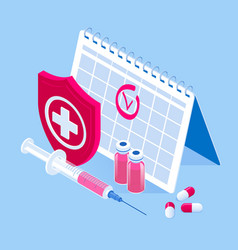 Isometric time to vaccinate concept vaccine vector