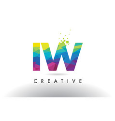 iw i w colorful letter origami triangles design vector image