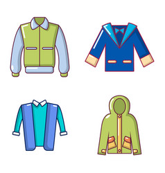Jacket icon set cartoon style vector