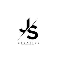 Js j s letter logo design with a creative cut vector
