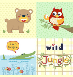 Jungle animals cartoon bear owl crocodile vector