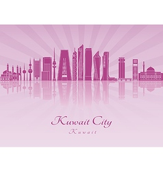 Kuwait City V2 skyline in purple radiant orchid vector