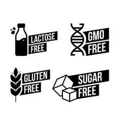 Lactose free sugar free gluten free gmo free vector