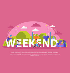 Lazy weekends people flat poster vector