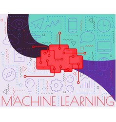 Machine learning concept trendy linear vector