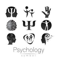 Modern sign set of psychology creative style vector