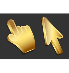 Mouse hand and arrow gold cursors vector