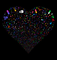 narcotic drugs fireworks heart vector image