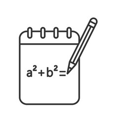 Notebook with math formula linear icon vector