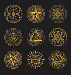 Occult occultism alchemy and astrology signs vector