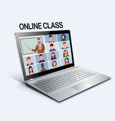 Online class pupils or students studying vector