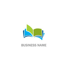 open book education business logo vector image