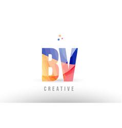 Orange blue alphabet letter bv b v logo icon vector