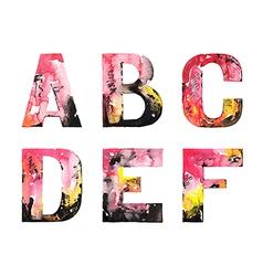 original handmade watercolor alphabet design vector image