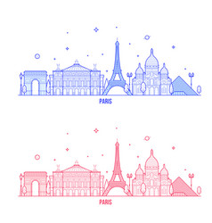 Paris skyline france city notable buildings vector