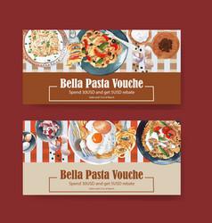 Pasta voucher design with bacon egg plate vector
