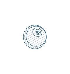 pool 8 ball billiard symbol isometric icon 3d vector image
